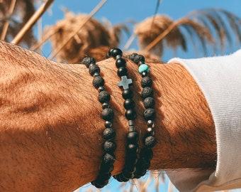 Men's Bracelet, Black Beads Bracelet, Men's Jewelry, Made in Greece, by Christina Christi Jewels.