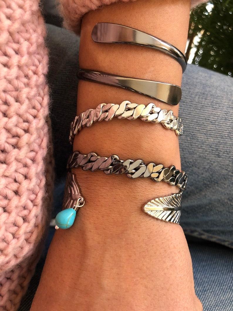 Cuff Bracelet Women Gift for Her Made in Greece Bangle Bracelet Stack by Christina Christi Jewels. Adjustable Bangle