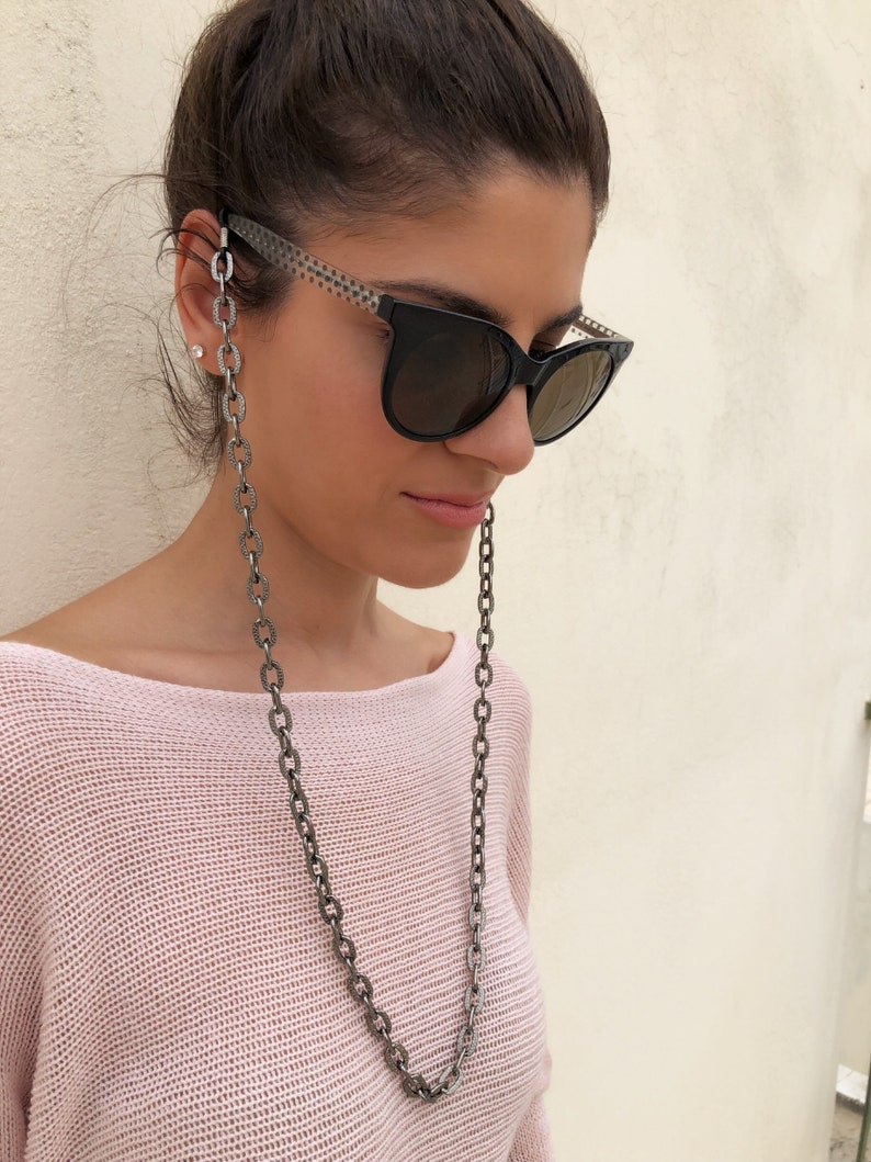Laces for Sunglasses Sunglasses Necklace Sunglasses Holder Sunglasses Chain Eyeglasses Chain Gift for Her. Gray Glasses Chain
