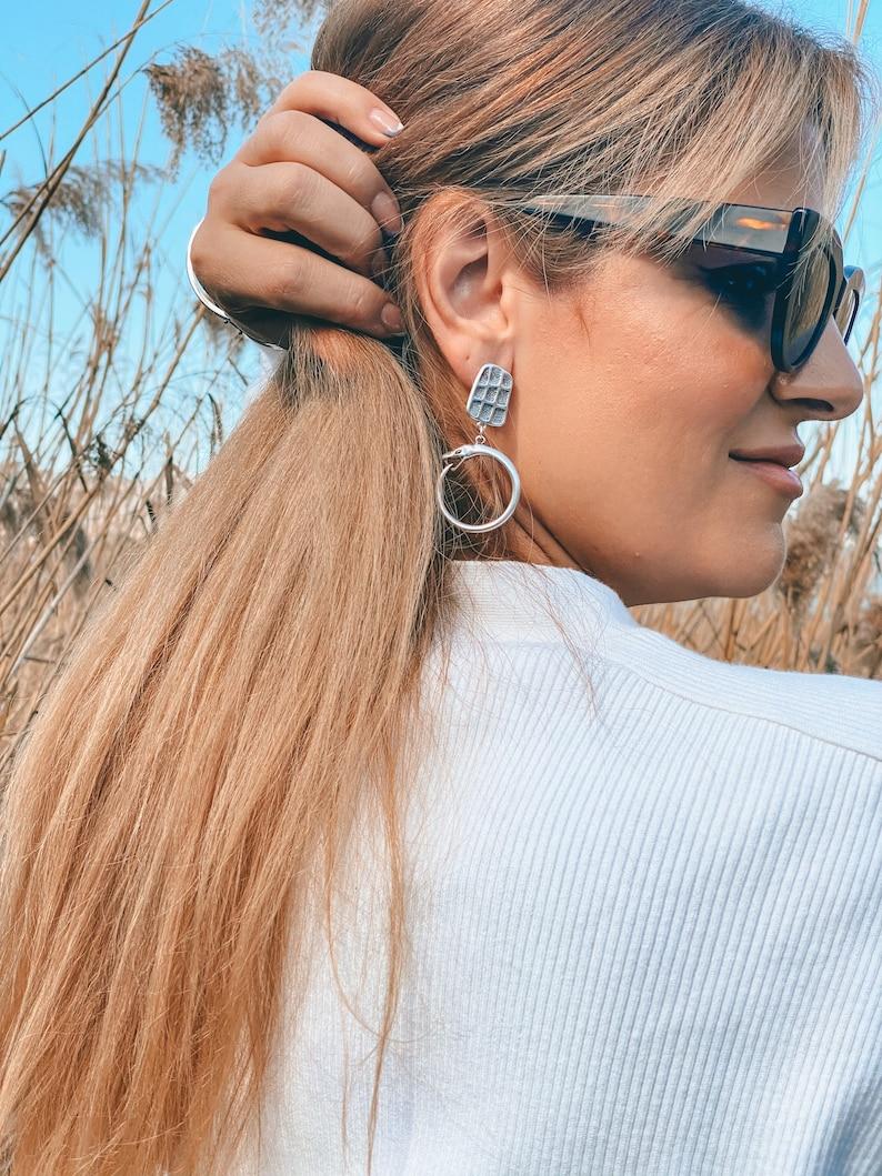Silver Geometric Earrings Dangle Earrings Snake Earrings Snake Hoop Earrings Made in Greece. Gift for Her