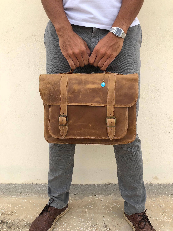 e7c6e24ff5 Briefcase Men Brown Leather Messenger Bag Laptop Briefcase
