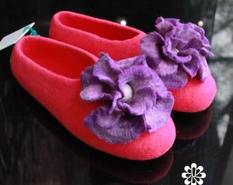 Women's Slippers Custom Made 100% Merino Wool Beautiful Felted Slippers