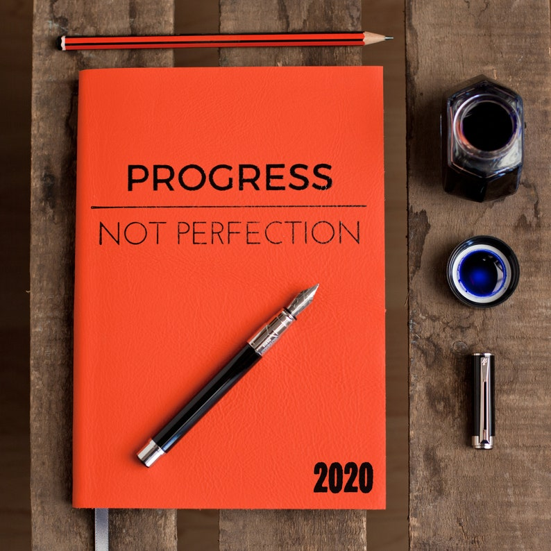 Progress Not Perfection  2020 diary  personalised diary for image 0