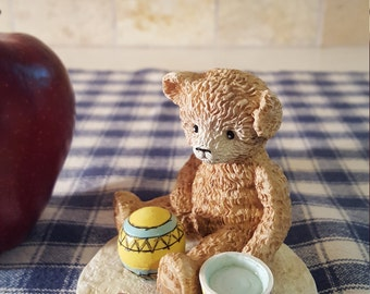 PLAY TIME BEACH Tender Teddy Bear Collectible Beach Ball Sand Bucket Shovel Vintage Figurine Hard to Find 1992 Henry Wedenmeyer Gift for Her