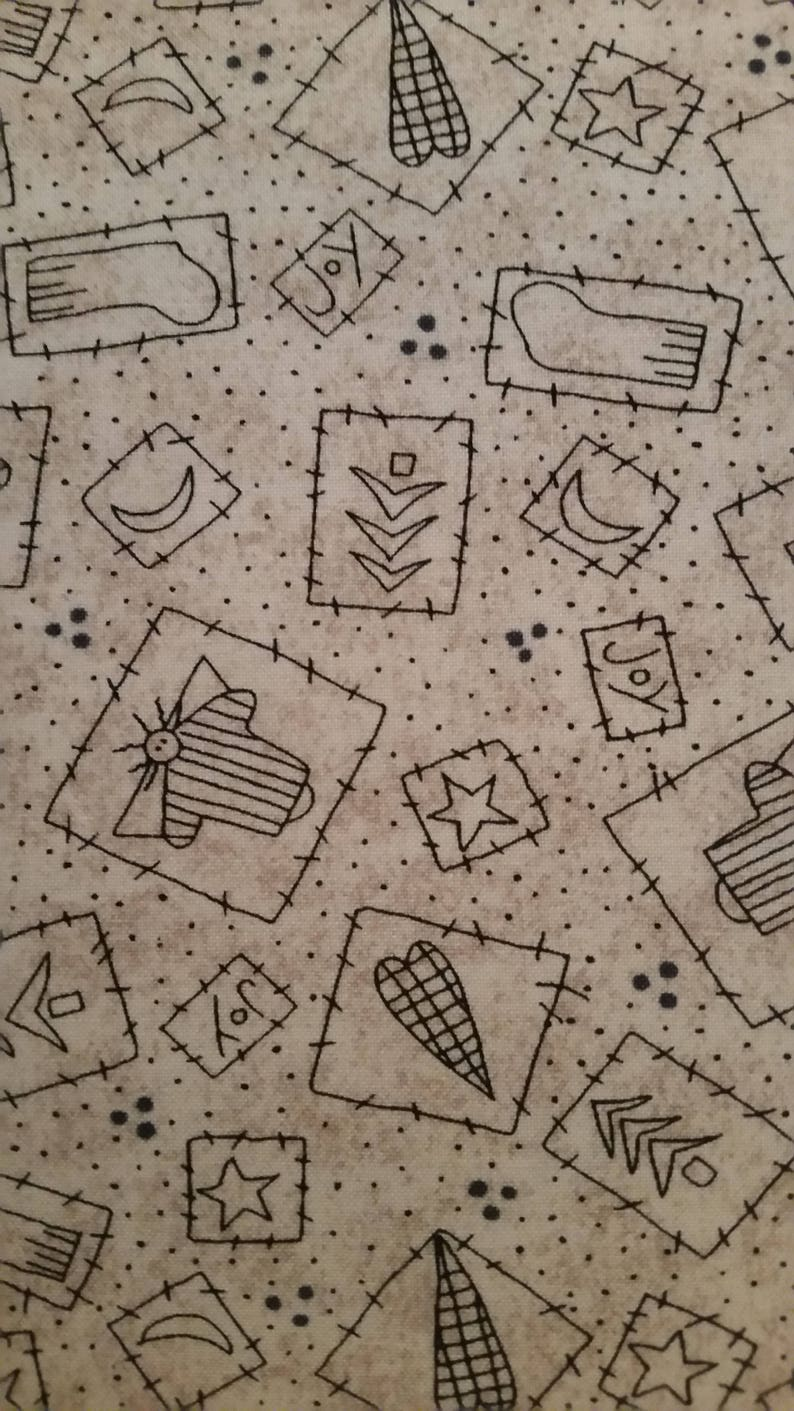 Fabric-Creme Yuletide patterns in patches allover