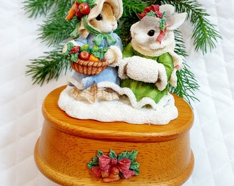 Music Box Figurine MY BLUSHING BUNNIES Song God Rest Ye Merry Gentlemen Art Deco Rustic Decor Farmhouse Vintage Hard to Find Gift for Her