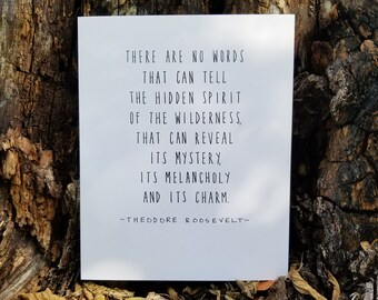 Theodore Roosevelt Quote, Nature, Environmentalist, Minimalist, Hand Lettered Print, Custom 8x10, National Parks, Eco-Friendly
