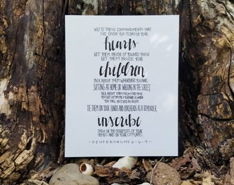 Deuteronomy 6:6-9, 8x10 Christian Print, Bible Verse, Scripture, The Message, Gift for Mom, Mother's Day
