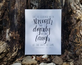 Proverbs 31:25, 8x10 Christian Print, Scripture, Bible Verse, Gift for Her, Mother's Day, Proverbs 31, Minimalist, Women