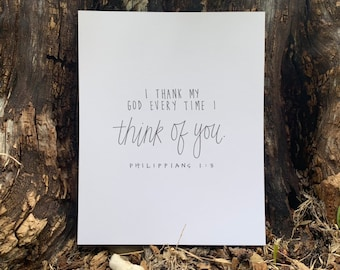 Philippians 1:3, Bible Verse, 8x10, Love, Thinking of You, Black and White, Minimalist, Wedding Gift, Newlywed, Anniversary, Bedroom Decor