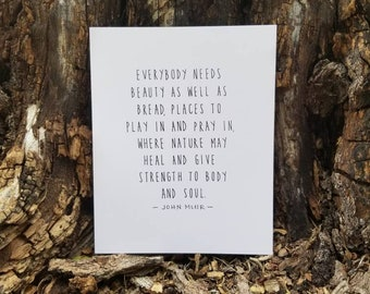 John Muir Print, Nature May Heal, Give Strength to Body and Soul, 8x10, Tree Hugger, National Parks Gift, Environmentalist, Minimalist