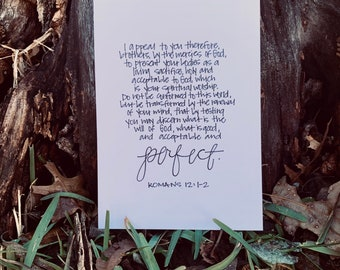 Romans 12:1-2 Print, Living Sacrifice, Renew your Mind, Hand-Lettered Calligraphy, Christian, Black and White, 5x7, Minimalist, Scripture