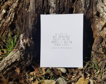 Jackie Robinson Quote, 8x10 print, black and white, baseball, minimalist, gift for him, nursery decor, boy room, graduation gift