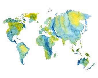 World Map Atlas Print - Watercolour Painting
