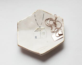 Hexagon Ceramic Ring Dish/ Engagement Ring Dish/ Wedding Dish/ House Ring Display/ Hexagon Ring Dish/ Clay Jewelry Dish