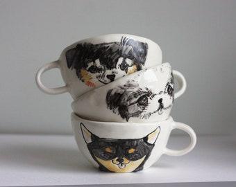 Custom Pet Portrait Cup/ Handmade Dog Mug/ Porridge Bowl/ Handbuild Cat Cups/ Soup Bowl/ Handmade Ceramic Dog Mugs/ Ceramic Porridge Bowl