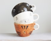 Custom Ceramic Cat Cup/ Personalized Handmade Ceramic Mug/ Porridge Bowl/ Handbuild Cat Cup/ Soup Bowl/ Handmade Ceramic Cup/ Ceramic Cat