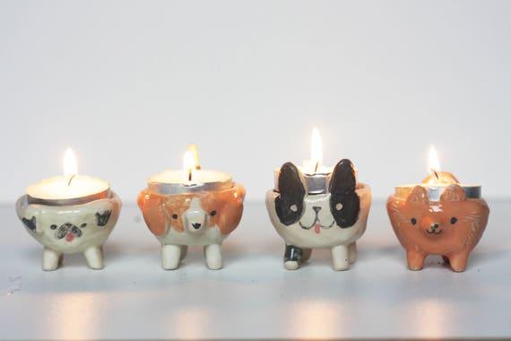 Custom Ceramic Dog Tea Light Candle Holder Personalised Dog Etsy