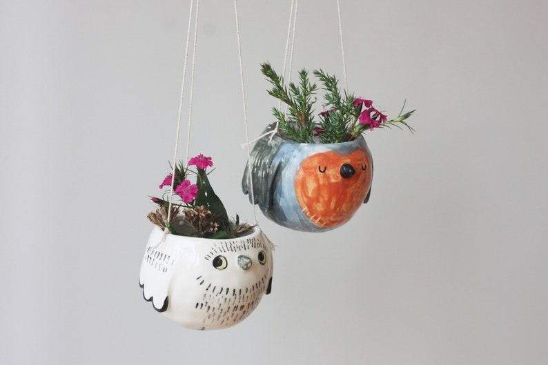 Small Ceramic Hanging Planter Ceramic Hanging Pot Owl Flower Pot Cactus Flower Pot Ceramic Owl