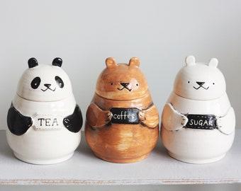 Set of Three Custom Jars / Ceramic Kitchen Canister Set/ Handmade Bank/ Ceramic Jar with Lid/ Ceramic Bear/ Coffee Sugar Tea Containers