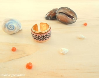 Ring woven beaded coral and black miyuki, birthday gift idea