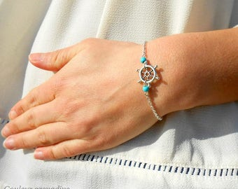 Sailor bracelet, chain and rudder, turquoise beads, birthday gift idea