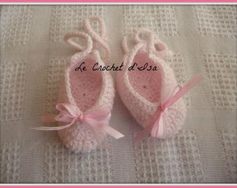 LIGHT PINK CROCHET BABY SHOES SLIPPERS