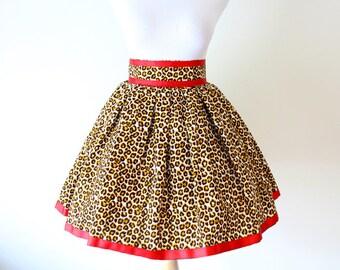 Cheetah Print Midi Skirt, Ankara Skirt, African Skirt, Ankara Skater Skirt, Leopard Print Skirt, Ankara Dress, Graduation Dress For Women