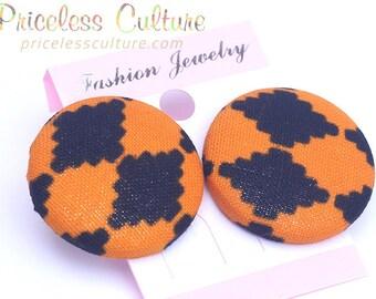 Orange Kente Stud Earrings Orange and Black Diamond Pattern Earring African Stud Earrings Button Covered Earring Bridesmaid Wedding earrings
