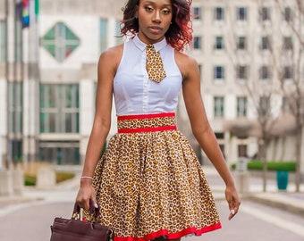 Cheetah Print Skirt, Cheetah Office Dress,Leopard Short Skirt, Leopard Print Skirt, Leopard Dress Skirt, Cheetah Skirt With Red Trim Ribbon