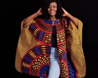 African Clothing For Women Plus Size | Gold Ankara Top | Oversized Kimono | Red Poncho | Ethnic Jacket | Hippie Free Size | Earth Tone