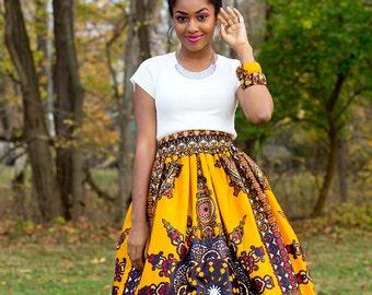 25b9d0ae233 Yellow Dashiki Maxi Skirt Gathered African Print Skirt African Wedding Dress  Ankara Maxi Skirt African Plus Size Skirt African Gift for Her
