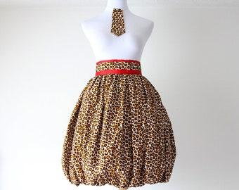 Leopard Bubble Skirt, Ankara Skirt, Graduation, African Print Skirt, Ankara Midi Skirt, Balloon Skirt, High Waisted Skirt, Cheetah Clothing