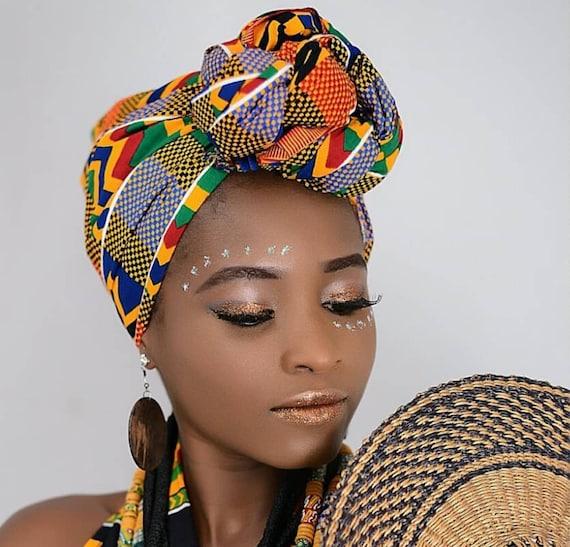 Ankara Print Headwrap African Print Headwrap Purple Kente Print headscarf African Headwraps Sale !!