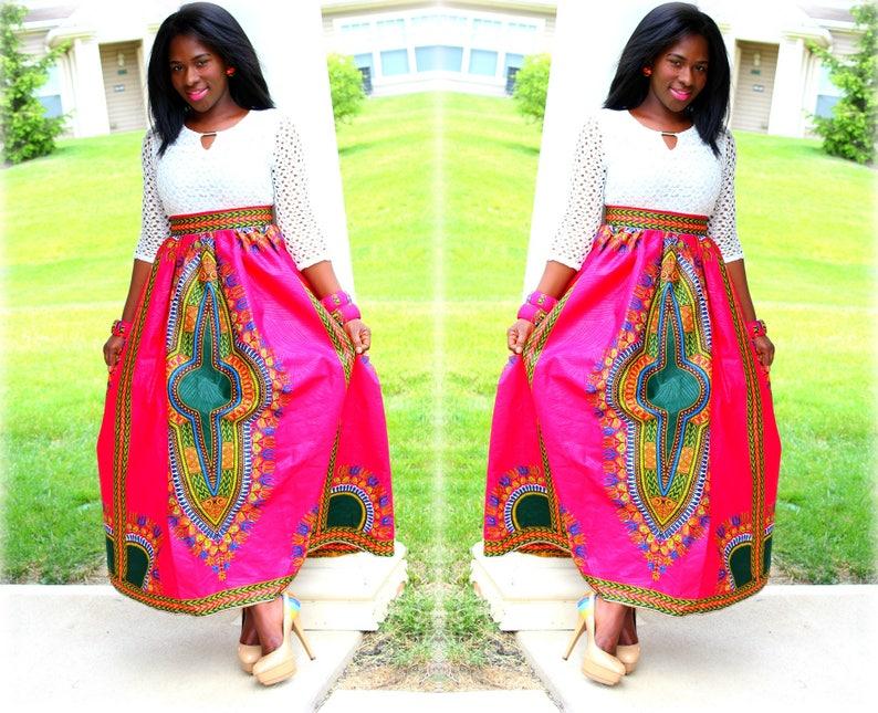 133d3613f8e97 Dashiki Maxi Skirt in Pink Orange Red Dashiki Maxi Skirt