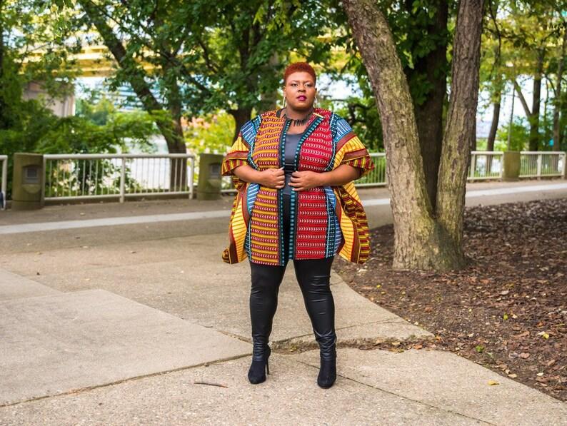 c3175a382c5 Oversized Kimono African Top Red Ankara Kimono Dashiki