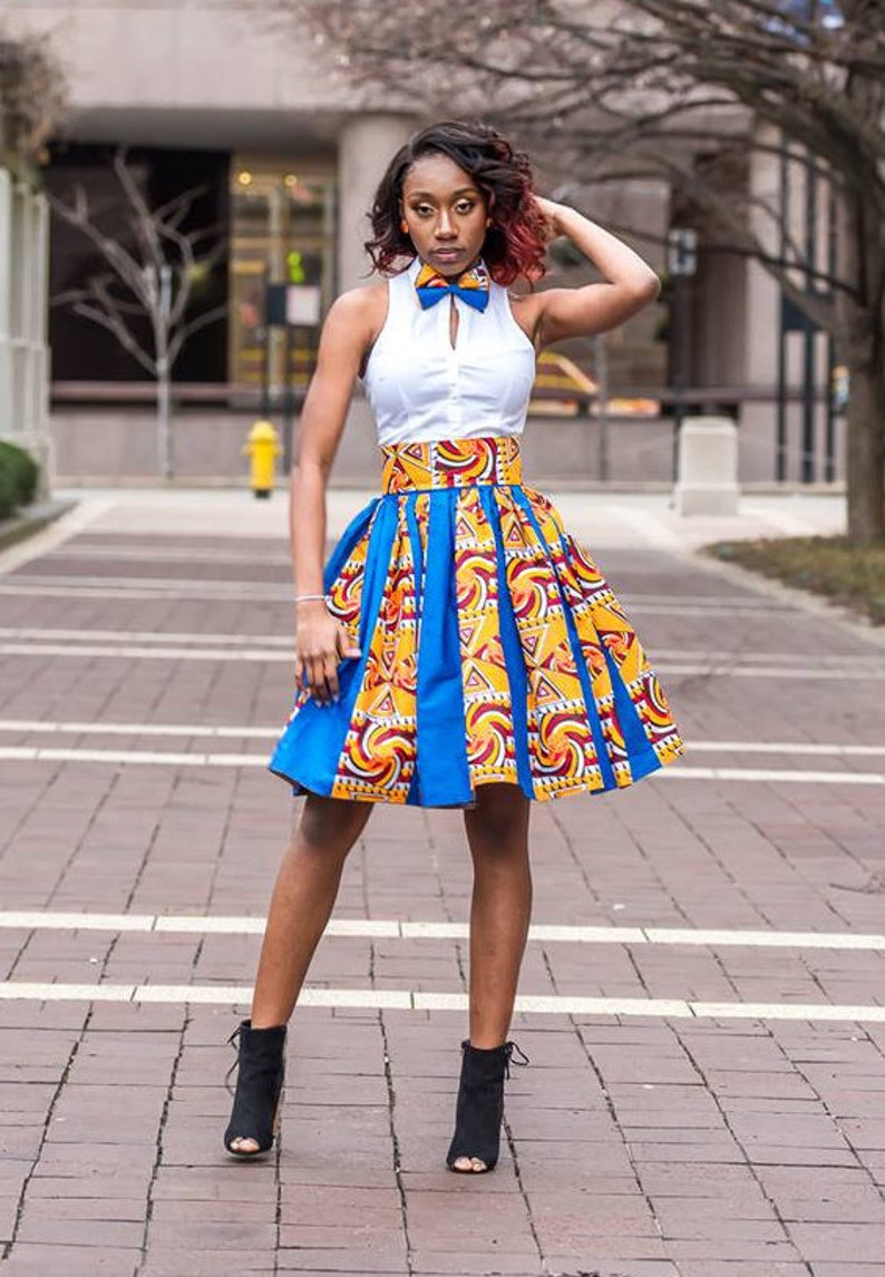 10e4399bf8 Ankara Knee Length Skirt With Matching Bow Tie Ankara Patched | Etsy