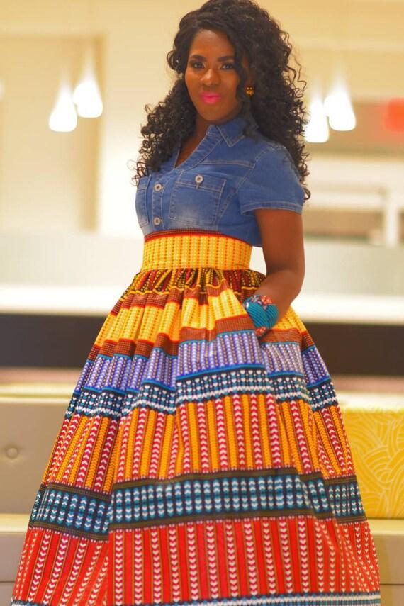 6976514b315e6 Kente Maxi Skirt African Maxi Skirt Dashiki Maxi Skirt