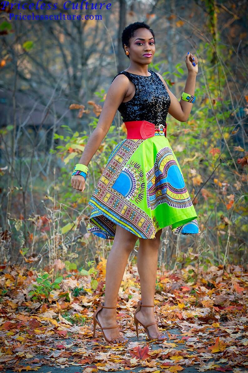 7294dea55f Green Dashiki Circle Skirt Blue Dashiki Ankara knee length | Etsy