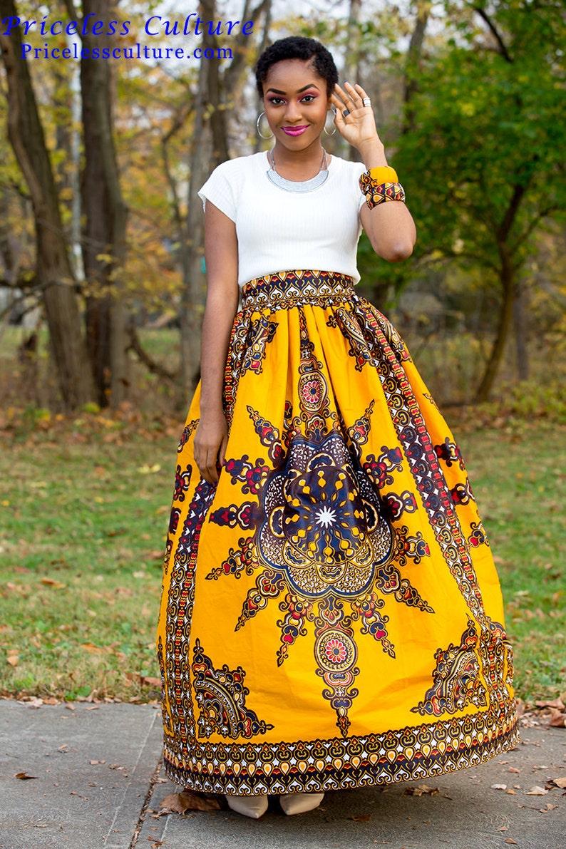 ffd0f8f1c9 Yellow Dashiki Maxi Skirt Gathered African Print Skirt African | Etsy