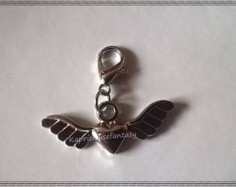Charm, heart clasp, wing, silver metal, clips, 29 x 11 mm charms post natal, nursing