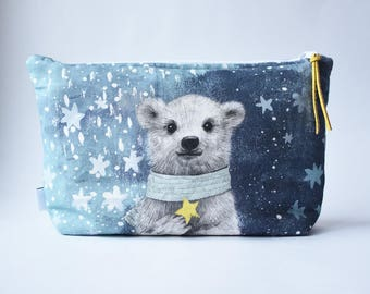 Large linen make up bag, Christmas gift make up case, zipper pouch with animal print, Bear, Deer, diaper clutch, diaper bag, make up storage
