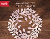 Fall Christmas laser cut vector wreath template, Monogram frame, SVG decoration, laser cutting advent wreath. Vector cut winter foliage