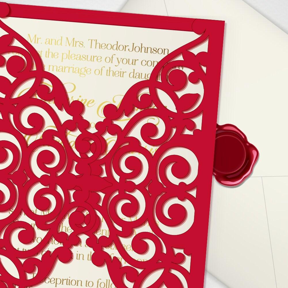 Vector laser cut wedding invitation cricut template laser   Etsy