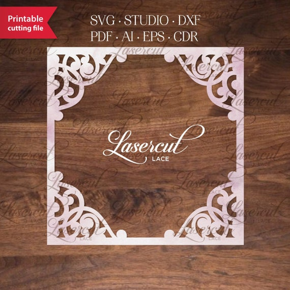 fancy square frame vector template for laser cutting svg dxf etsy