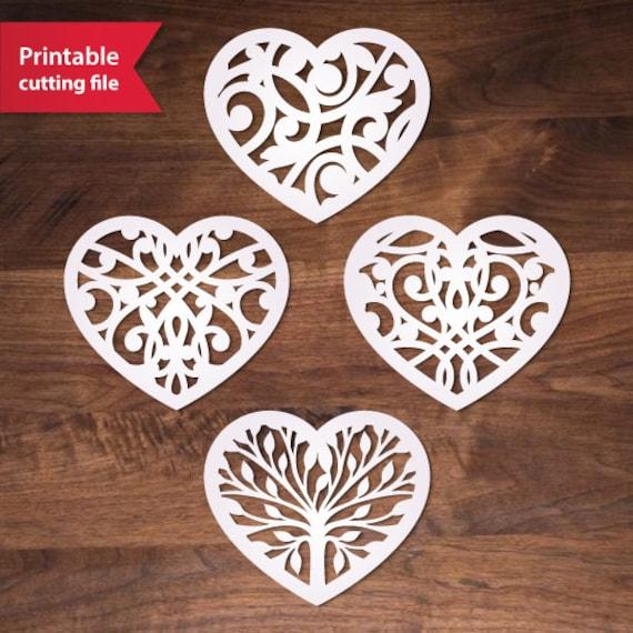 Silhouette Cricut heart Valentine svg template ai eps dxf