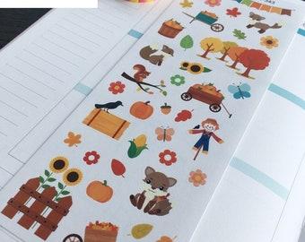 S-343 -- Pumpkin Picking, Fall, Trees, Fox, Autumn, Butterfly: Planner Stickers || Erin Condren, Limelife, Plum Paper, Filofax Planners