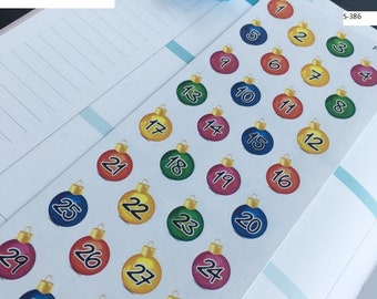 S456/373/382/381/457/431/432/392/386-- Holiday Countdown Planner Stickers   Perfect 4 Erin Condren, Limelife, Plum Paper, Filofax Planners