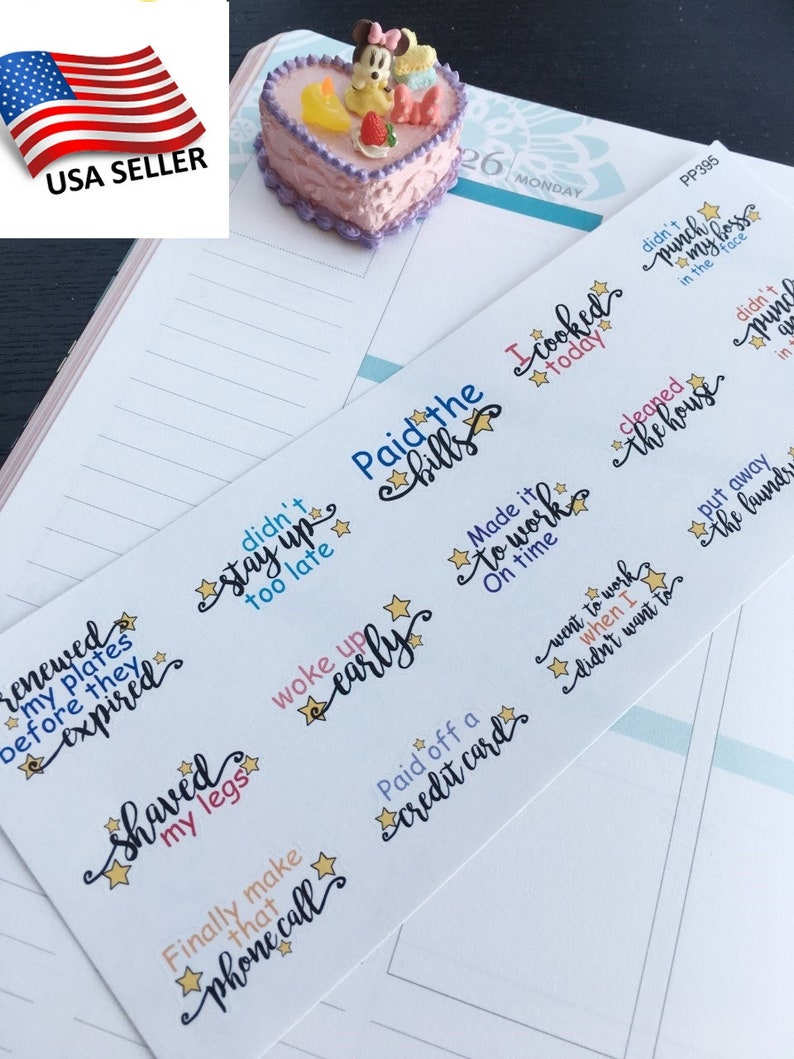 S-395 Not Punch my Boss Plum Paper Paid My Bills,Did Not Stay Up Too Late:Planner Stickers    Erin Condren I Cooked Today Limelife