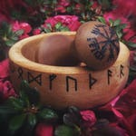 Mortar and Pestle with Runes - futhark - wooden - SALE